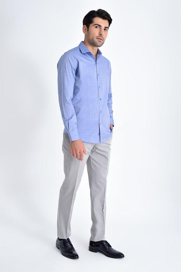 Hatem Saykı - Desenli Slim Fit Mavi Gömlek (1)