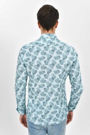 Desenli Slim Fit Mavi Gömlek - Thumbnail