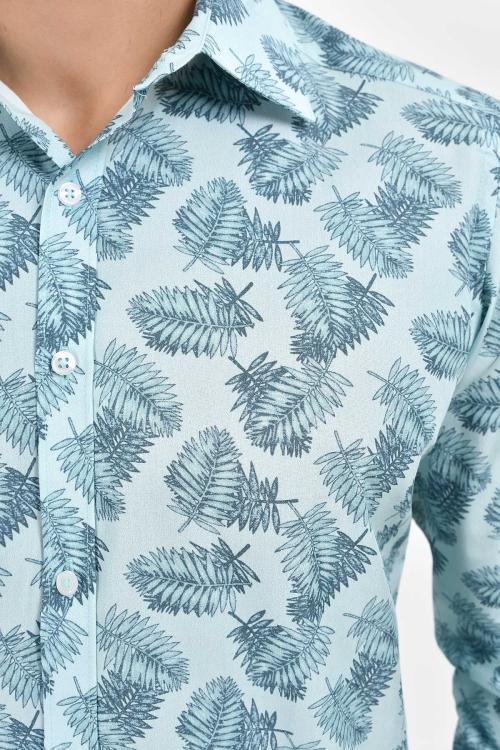 Desenli Slim Fit Mavi Gömlek