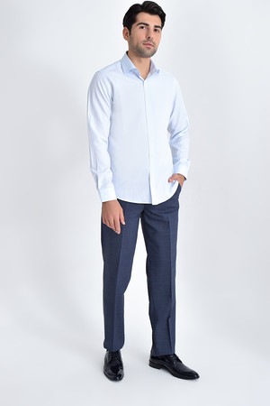 Hatemoğlu - Desenli Slim Fit Mavi Gömlek (1)