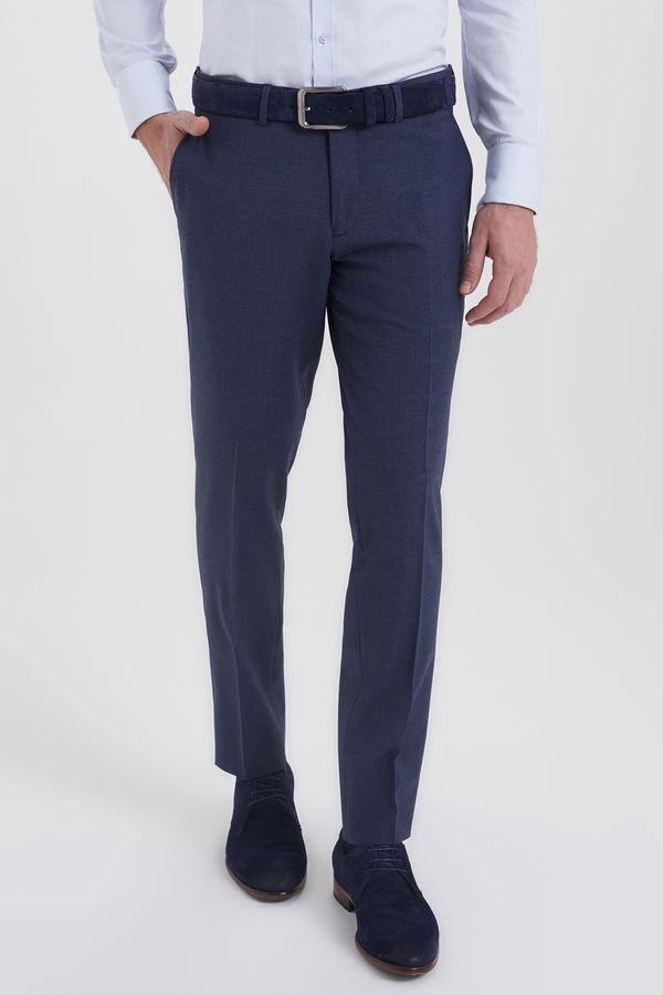 Hatem Saykı - Mavi Desenli Slim Fit Yünlü Kumaş Pantolon