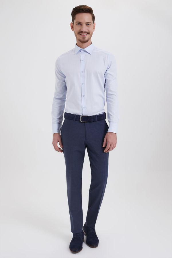 Hatem Saykı - Mavi Desenli Slim Fit Yünlü Kumaş Pantolon (1)