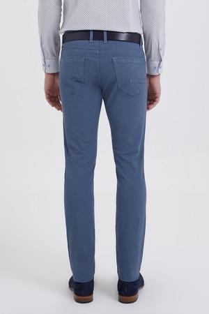Desenli Slim Fit Mavi Pantolon - Thumbnail