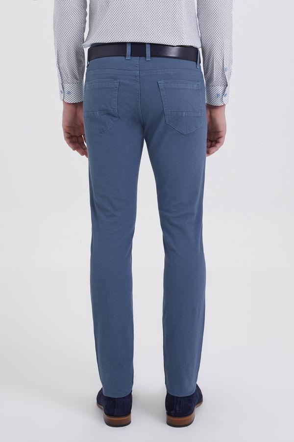 Desenli Slim Fit Mavi Pantolon