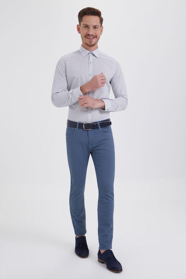HTML - Desenli Slim Fit Mavi Pantolon (1)