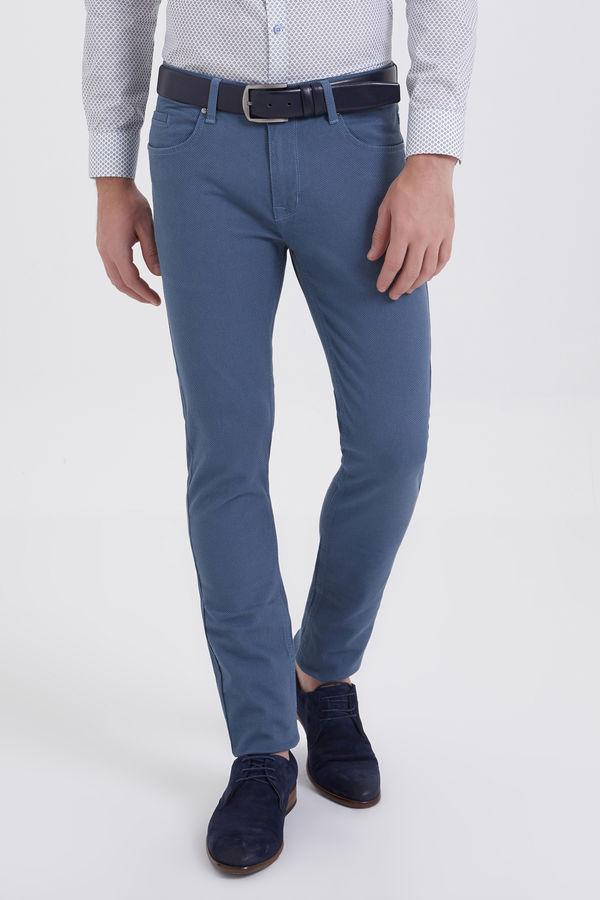 HTML - Desenli Slim Fit Mavi Pantolon