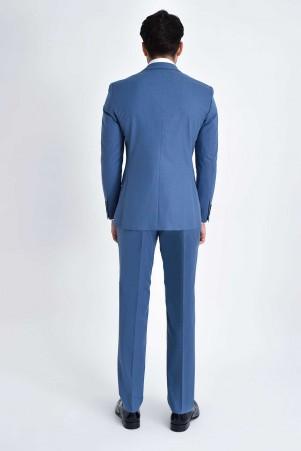 Desenli Slim Fit Mavi Takım Elbise - Thumbnail