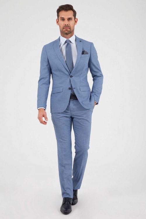 Hatemoğlu - Mavi Desenli Slim Fit Takım Elbise