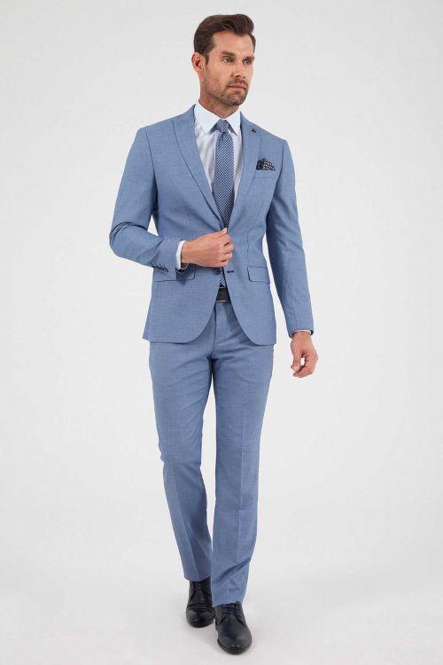 Hatemoğlu - Desenli Slim Fit Mavi Takım Elbise (1)