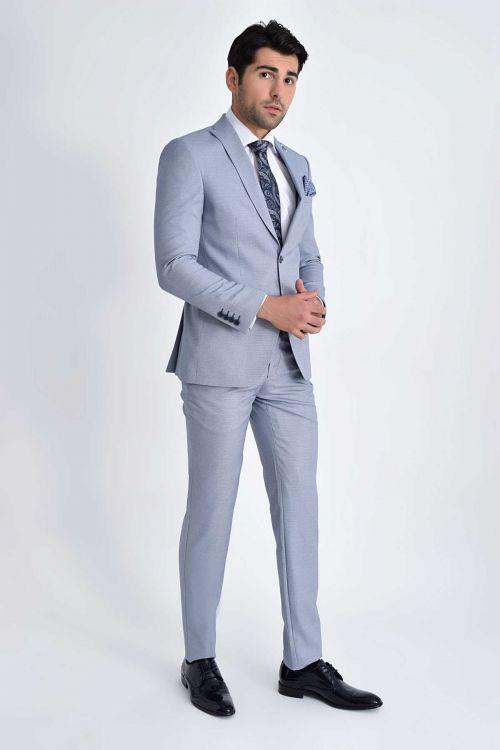 HTML - Desenli Slim Fit Mavi Takım Elbise