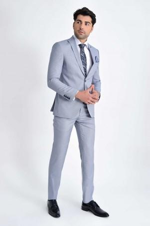 HTML - Mavi Desenli Slim Fit Takım Elbise (1)