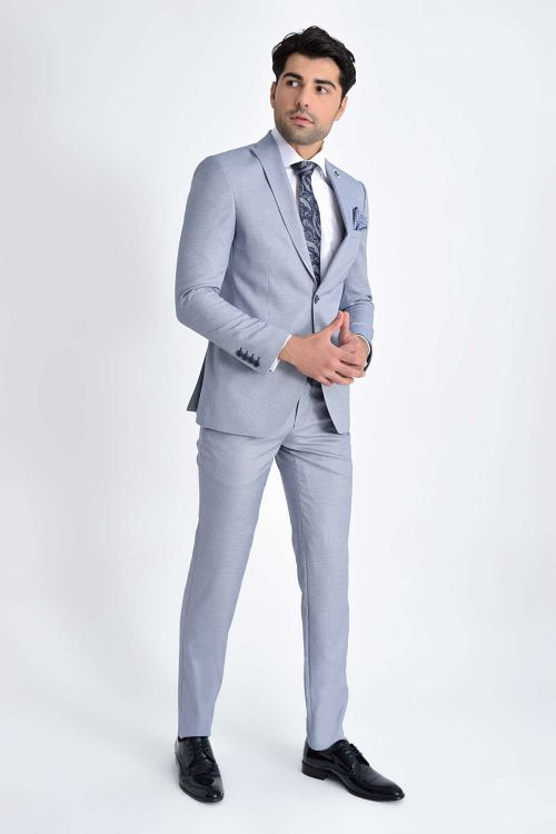 HTML - Desenli Slim Fit Mavi Takım Elbise (1)