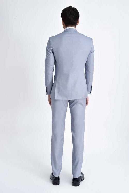 Mavi Desenli Slim Fit Takım Elbise