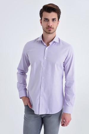 Hatem Saykı - Desenli slim fit mor gömlek