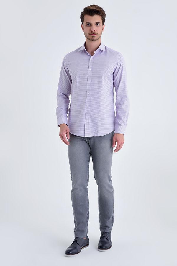 Hatem Saykı - Desenli slim fit mor gömlek (1)