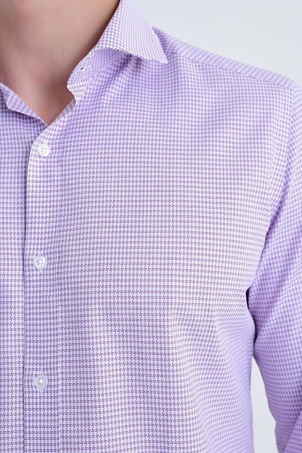 Desenli slim fit mor gömlek