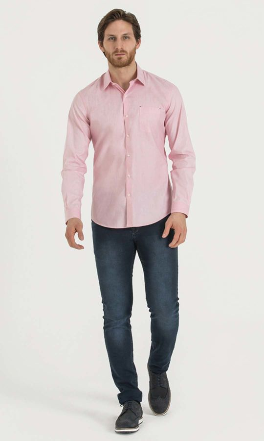 Hatem Saykı - Desenli Slim Fit Pembe Gömlek (1)