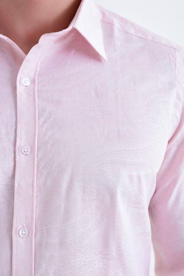 Desenli Slim Fit Pembe Gömlek