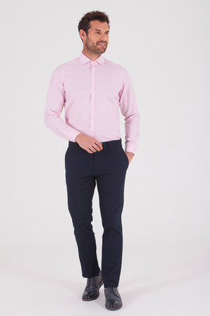 Hatemoğlu - Desenli Slim Fit Pembe Gömlek (1)
