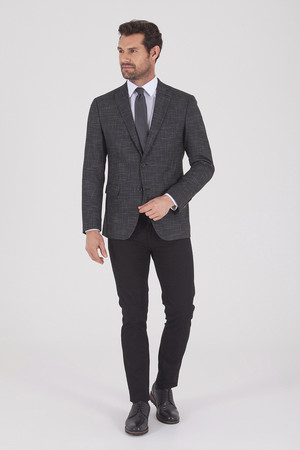 Siyah Slim Fit Desenli Klasik Ceket - Thumbnail