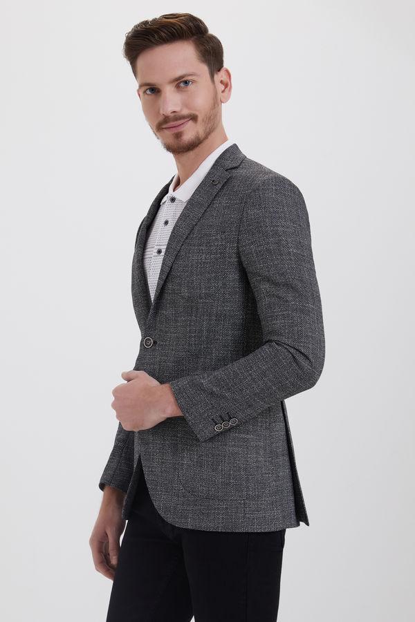HTML - Siyah Slim Fit Desenli Klasik Ceket