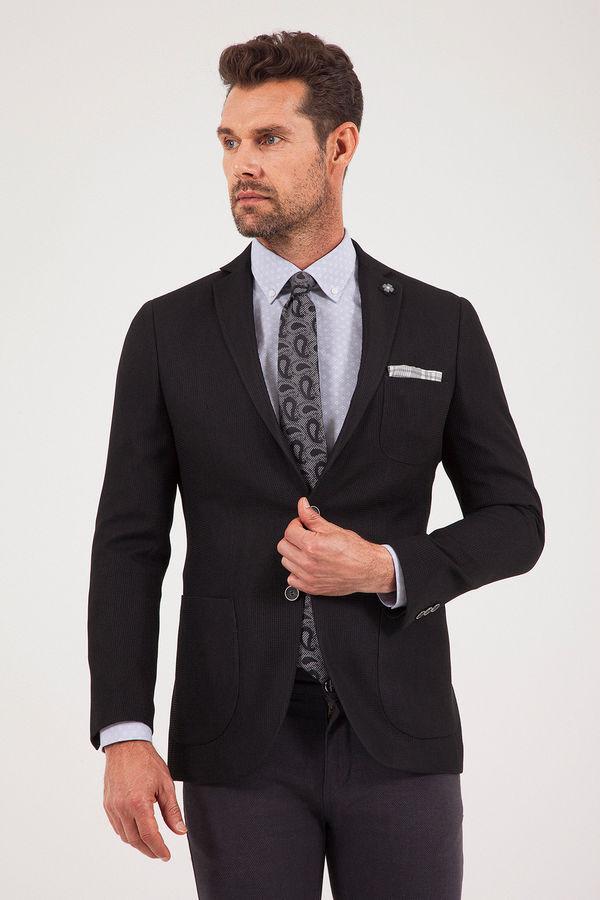 HTML - Desenli Slim Fit Siyah Ceket