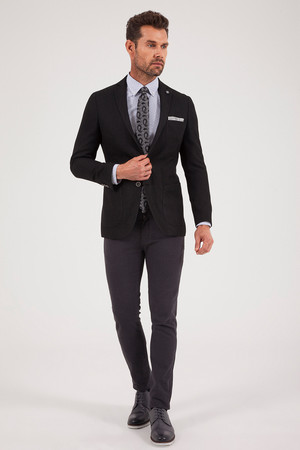 Desenli Slim Fit Siyah Ceket - Thumbnail