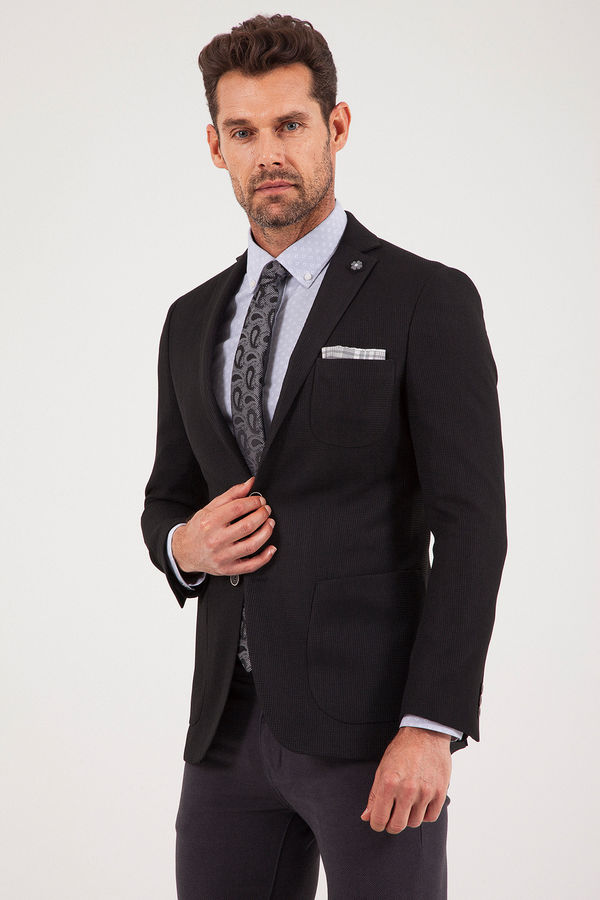 Desenli Slim Fit Siyah Ceket
