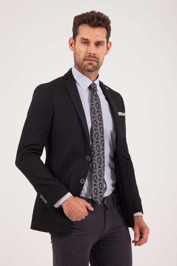 Siyah Slim Fit Desenli Klasik Ceket