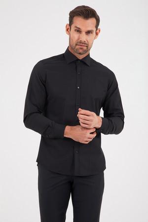 Hatemoğlu - Desenli Slim Fit Siyah Gömlek