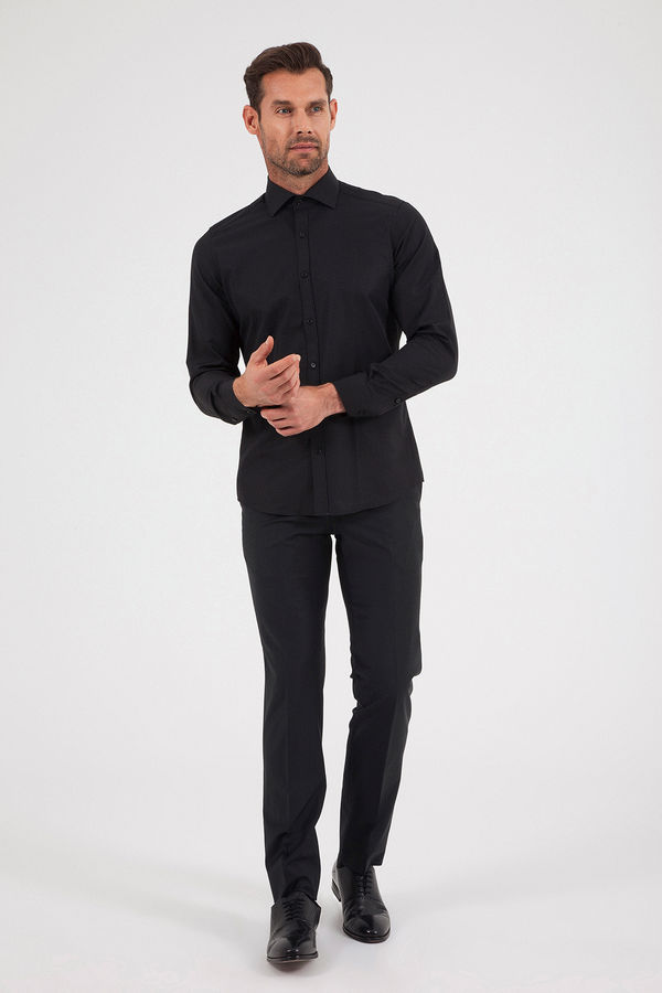 Hatemoğlu - Desenli Slim Fit Siyah Gömlek (1)