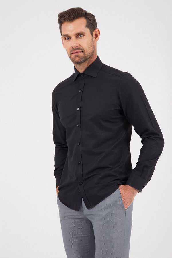 Desenli Slim Fit Siyah Gömlek