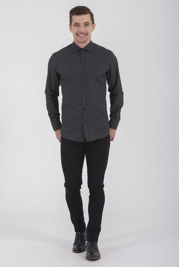 Hatem Saykı - Desenli Slim Fit Siyah Pantolon (1)