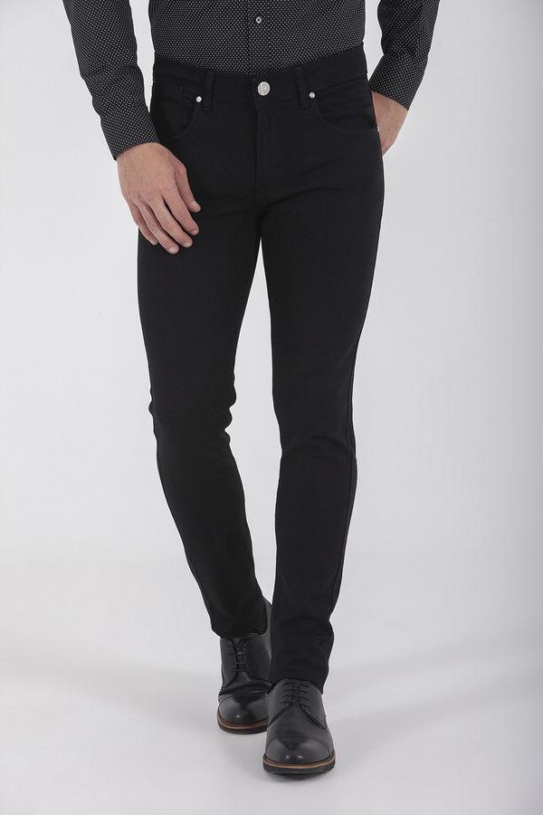 Hatem Saykı - Desenli Slim Fit Siyah Pantolon