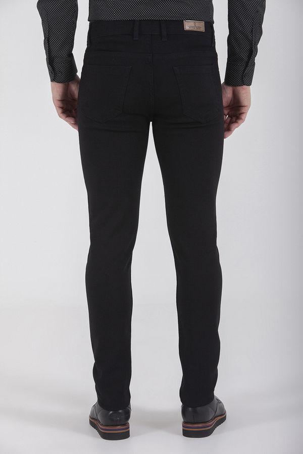 Desenli Slim Fit Siyah Pantolon