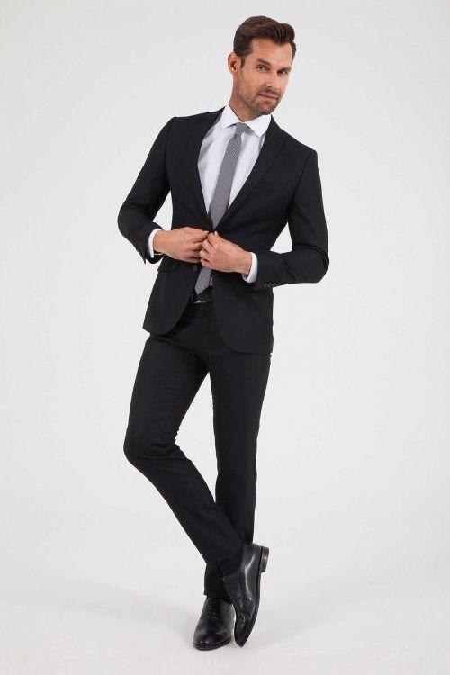 HTML - Desenli Slim Fit Siyah Takım Elbise (1)