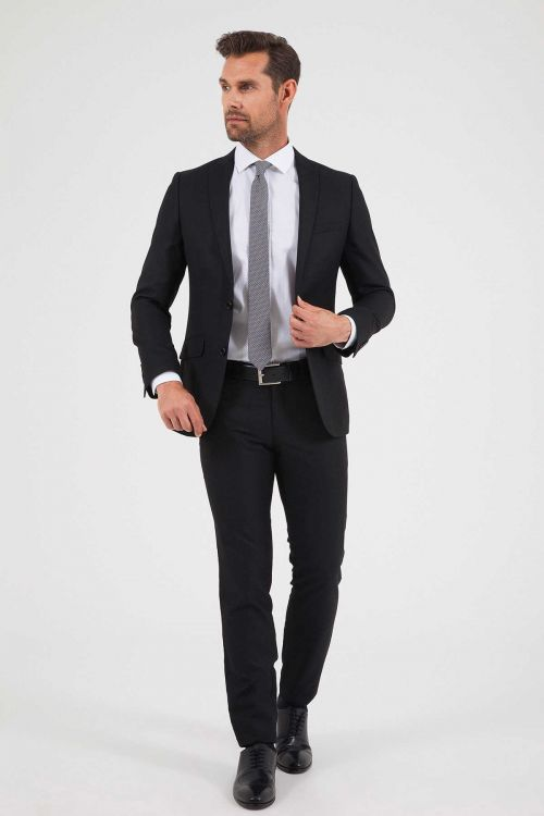 HTML - Desenli Slim Fit Siyah Takım Elbise