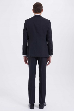 Desenli Slim Fit Siyah Takım Elbise - Thumbnail