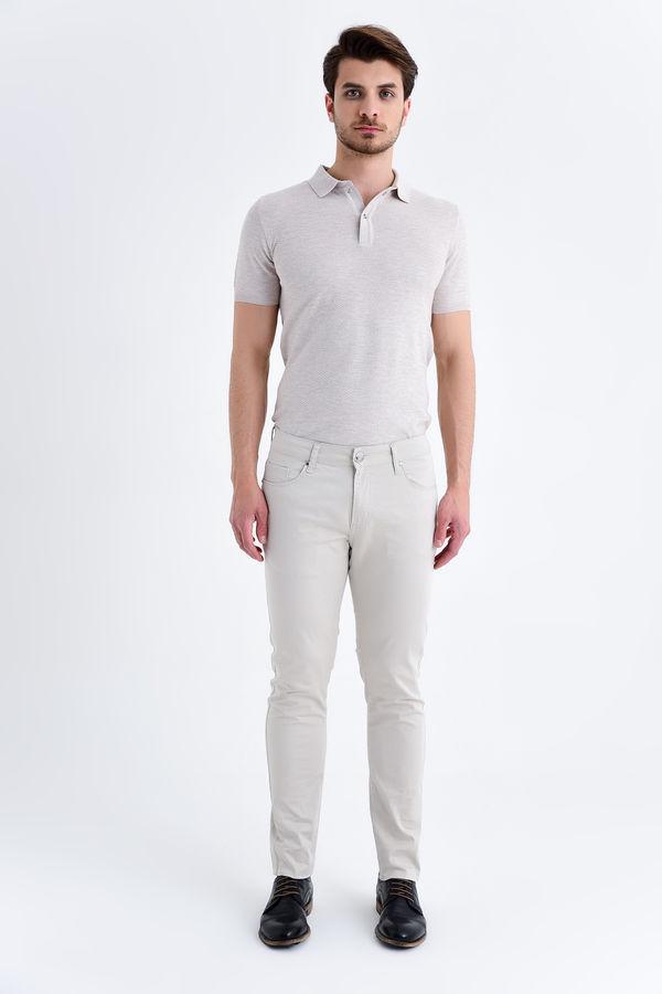 HTML - Bej Desenli Slim Fit Pantolon (1)