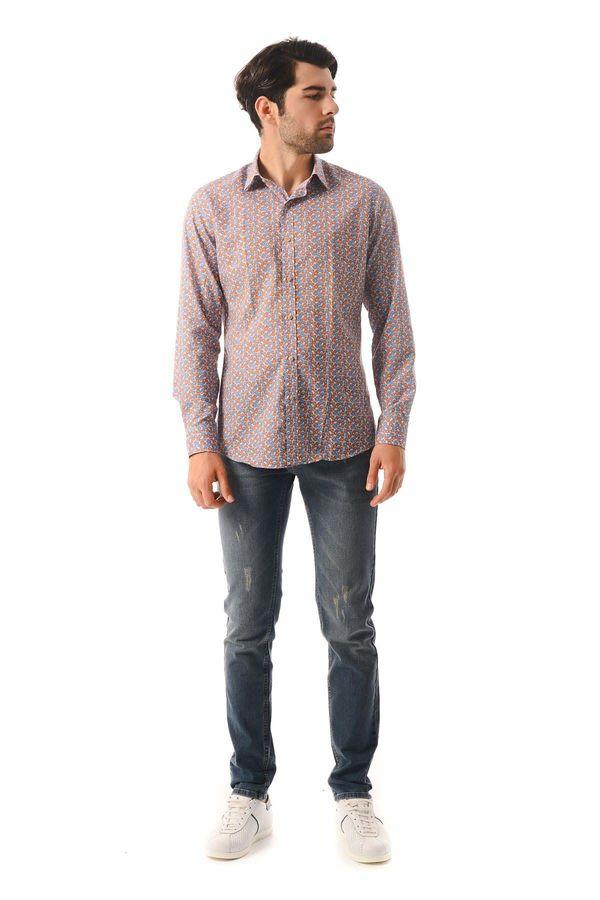 Hatem Saykı - Desenli Slim Fit Turuncu Gömlek (1)
