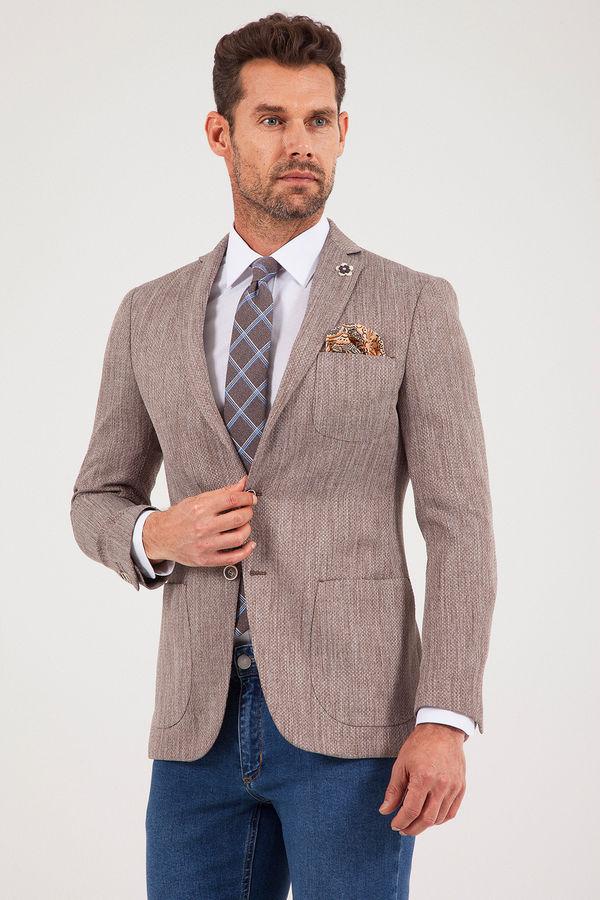 Vizon Slim Fit Desenli Klasik Ceket