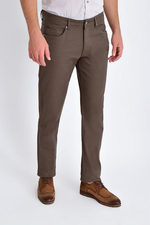 Hatem Saykı - Desenli Slim Fit Vizon Pantolon