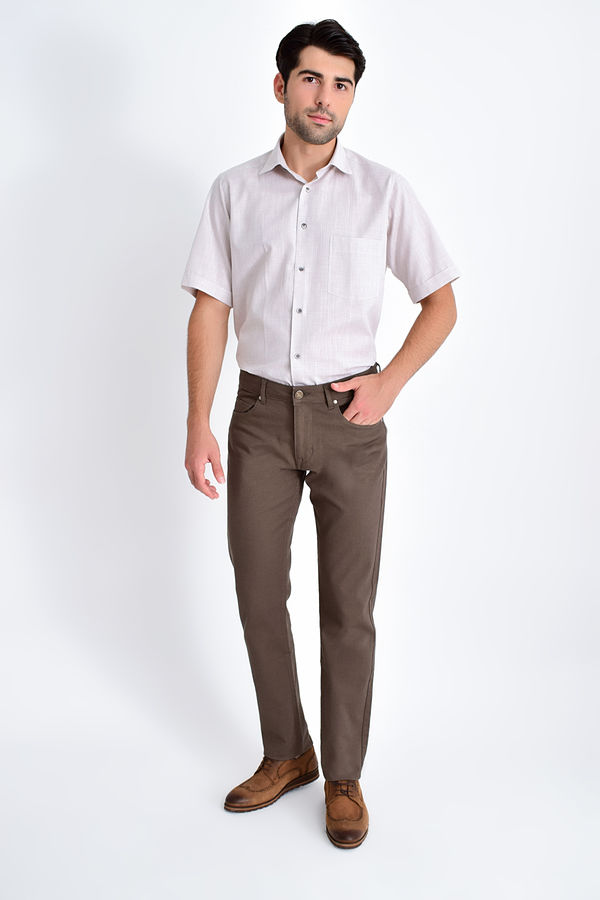 Hatem Saykı - Desenli Slim Fit Vizon Pantolon (1)