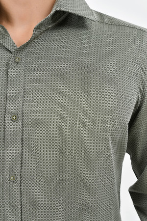 Desenli Slim Fit Yeşil Gömlek - Thumbnail