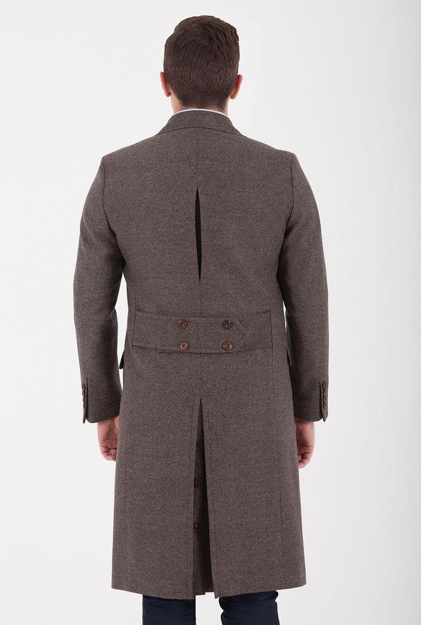 Hatemoğlu - Desenli Yünlü Kahverengi Palto (1)