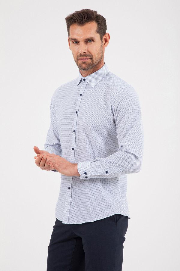 Beyaz Baskılı Slim Fit Gömlek