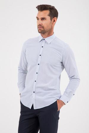 Beyaz Baskılı Slim Fit Gömlek - Thumbnail