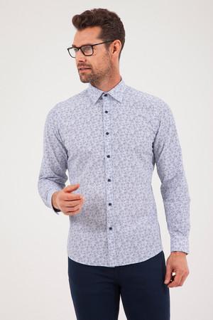 HATEMOĞLU - Lacivert Baskılı Slim Fit Gömlek