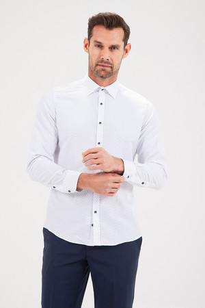 HATEMOĞLU - Baskılı Slim Fit Lacivert Gömlek