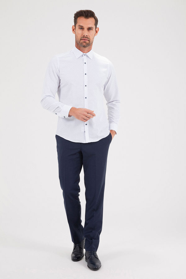 Hatemoğlu - Baskılı Slim Fit Lacivert Gömlek (1)
